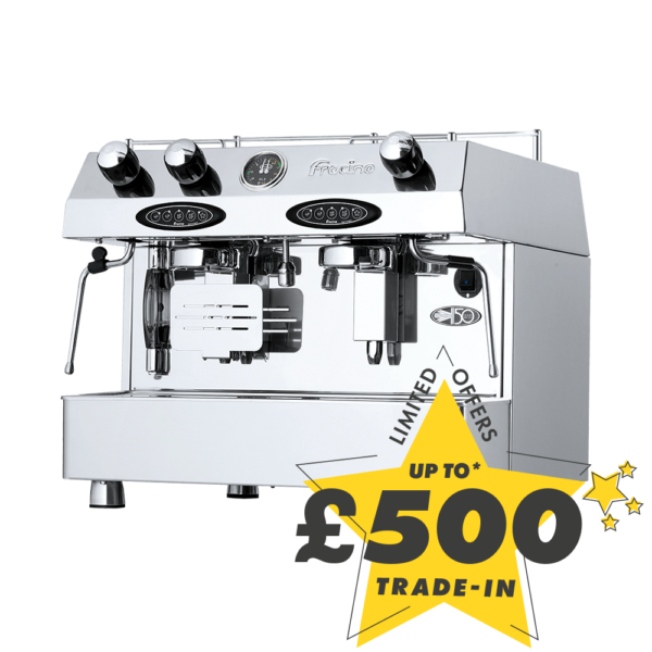 Up to £500 trade-in on your old machine against the purchase of this new Fracino Contempo 2 Group espresso coffee machine