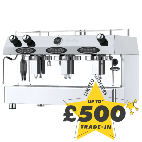 Up to £500 trade-in against the purchase of this new Fracino Contempo 3 Group Espresso coffee machine