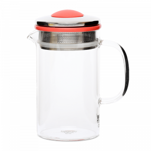Brew Tea Co Glass Tea Pot Red