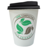 Black PLA Compostable Cup and black compostable Sip Lid