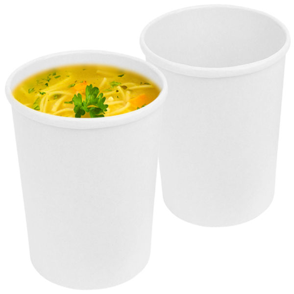 16 oz Tall White Kraft Paper Container 2
