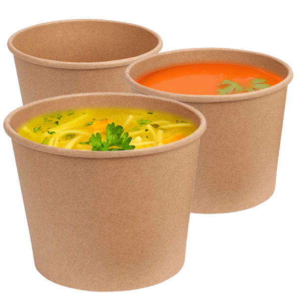 Brown 12 oz squat Kraft Paper Container 3