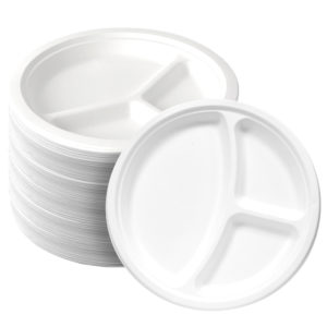 Large Three compartment bagasse paper plate