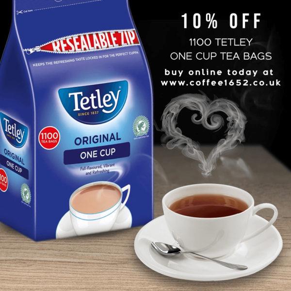 Coffee 1652 Tetley 1100 one Cup Tea bags